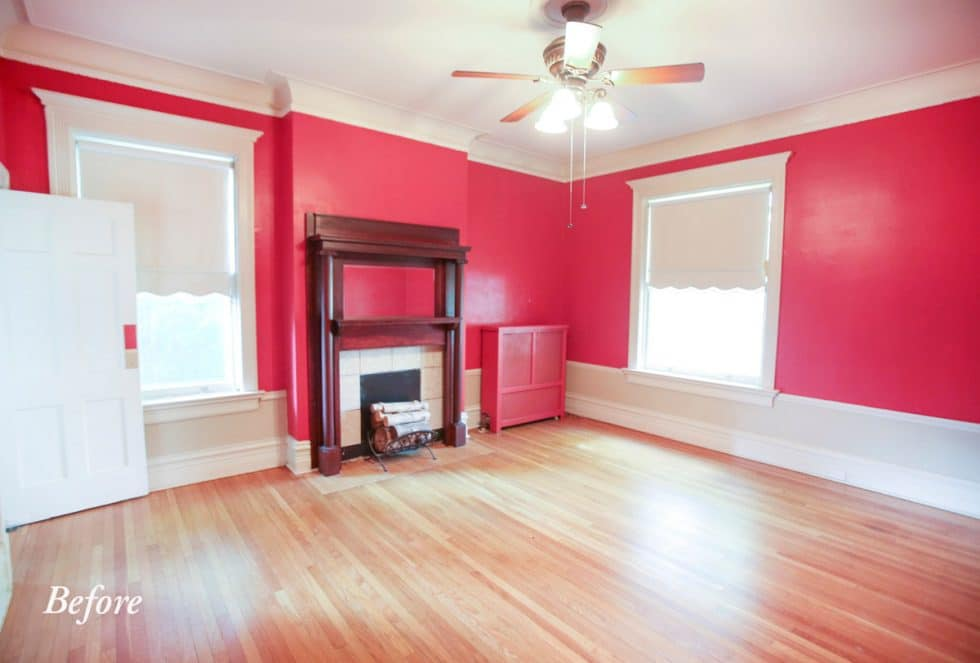 dining room fireplace before